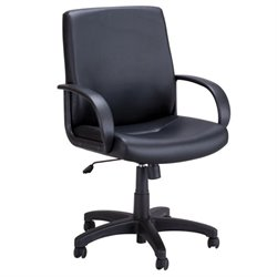 Safco Poise Faux Leather Executive Mid Back Office Chair in Black