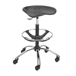 Black Drafting Chair with Chrome Base
