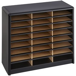 24 Compartment Metal Flat Files Organizer in Black