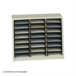 24 Compartment Flat Files Metal Organizer in Sand
