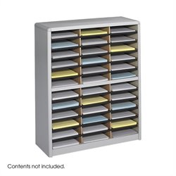 36 Compartment Metal Flat Files Organizer in Gray