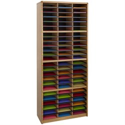 72 Compartment Metal Flat Files Organizer in Medium Oak