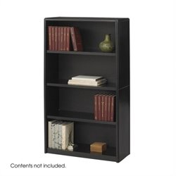4 Shelf Economy Steel Bookcase in Black
