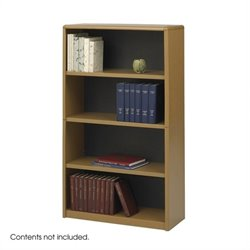 Standard 4 Shelf Economy Steel Bookcase in Medium Oak