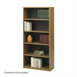 Safco 5-Shelf ValueMate Medium Oak Economy Steel Bookcase