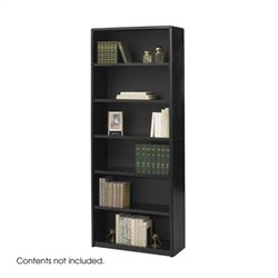 6 Shelf Wood Economy Steel Bookcase in Black