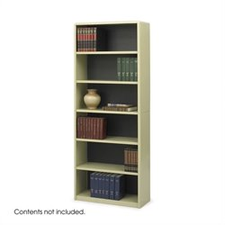 Safco 6-Shelf ValueMate Sand Economy Steel Bookcase