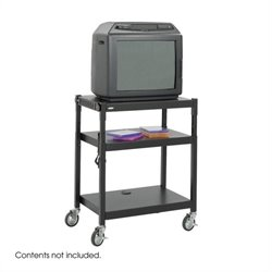 Black Steel Adjustable Height Mobile Media Cart in Black