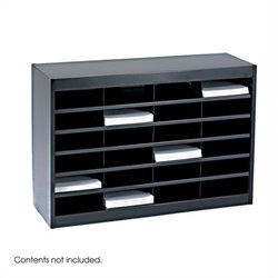 Safco E-Z Stor Black Mail Organizer -  24 Letter Size Compartments