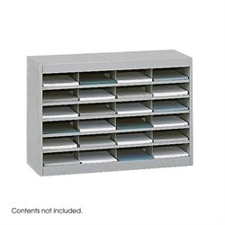 Grey Mail Organizer - 24 Letter Size Compartments