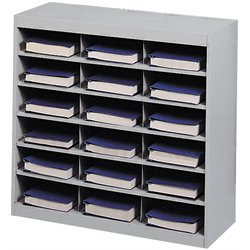 Grey Steel Mail Organizer - 18 Compartments