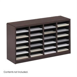 Mahogany Wood Mail Organizer - 24 Compartments