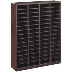 Safco E-Z Stor Mahogany Wood Mail Organizer -  60 Compartments