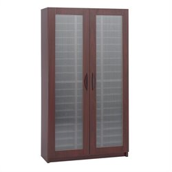 Mahogany 60 Compartment Mail Organizer With Doors