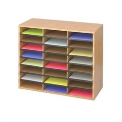 Medium Oak Wood/Corrugated 24 Compartment Literature Organizer