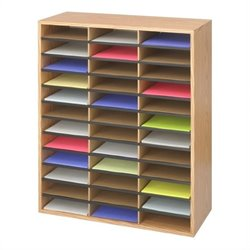 Medium Oak Wood/Corrugated 36 Compartment Literature Organizer