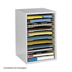 Grey 11 Compartment Vertical Desk Top Sorter