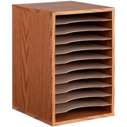 Medium Oak 11 Compartment Vertical Desk Top Sorter