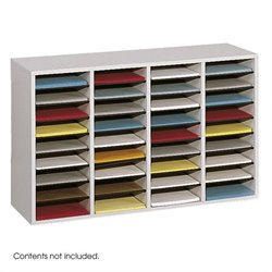Grey 36 Compartment Wood Adjustable File Organizer