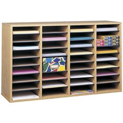 Medium Oak 36 Compartment Wood Adjustable File Organizer