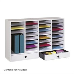 Grey 32 Compartment File Organizer with Drawer