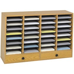 Medium Oak 32 Compartment File Organizer with Drawer