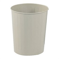 Safco Steel Round 6 Gallon Trash Can in Sand (Set of 6)