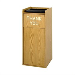 Safco Medium Oak Wood Food Court Receptacle
