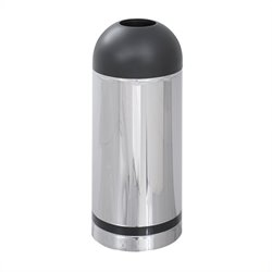 Safco Reflections Chrome and Black Open Top Dome Receptacle
