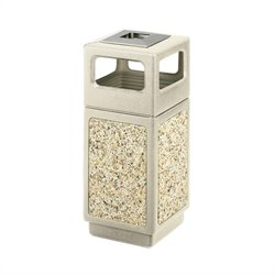 Aggregate Panel 15 Gallon Trash Can with Ash Urn in Beige