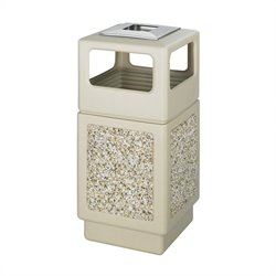 Aggregate Panel 38 Gallon Trash Can with Ash Urn in Beige