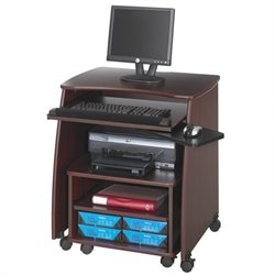 Computer Workstation with Duo Printer Cart in Mahogany