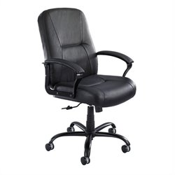 High Back Big and Tall Office Chair in Black Leather