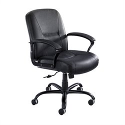Mid Back Big and Tall Office Chair in Black Leather