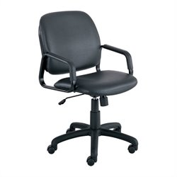 Safco Cava Urth Straight Leg Guest Chair in Black Vinyl