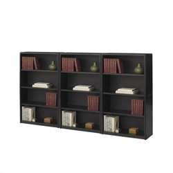 Safco ValueMate 4 Shelf Economy Steel Wall Bookcase in Black