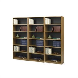6-Shelf ValueMate Economy Steel Wall Bookcase in Medium Oak