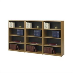 Standard 4 Shelf Steel Wall Bookcase in Medium Oak