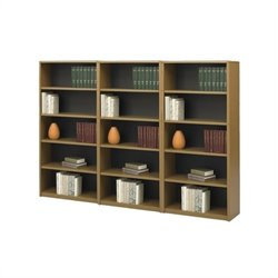 5-Shelf Medium Oak Economy Steel Wall Bookcase