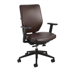 Task Office Chair with Arms in Brown Vinyl