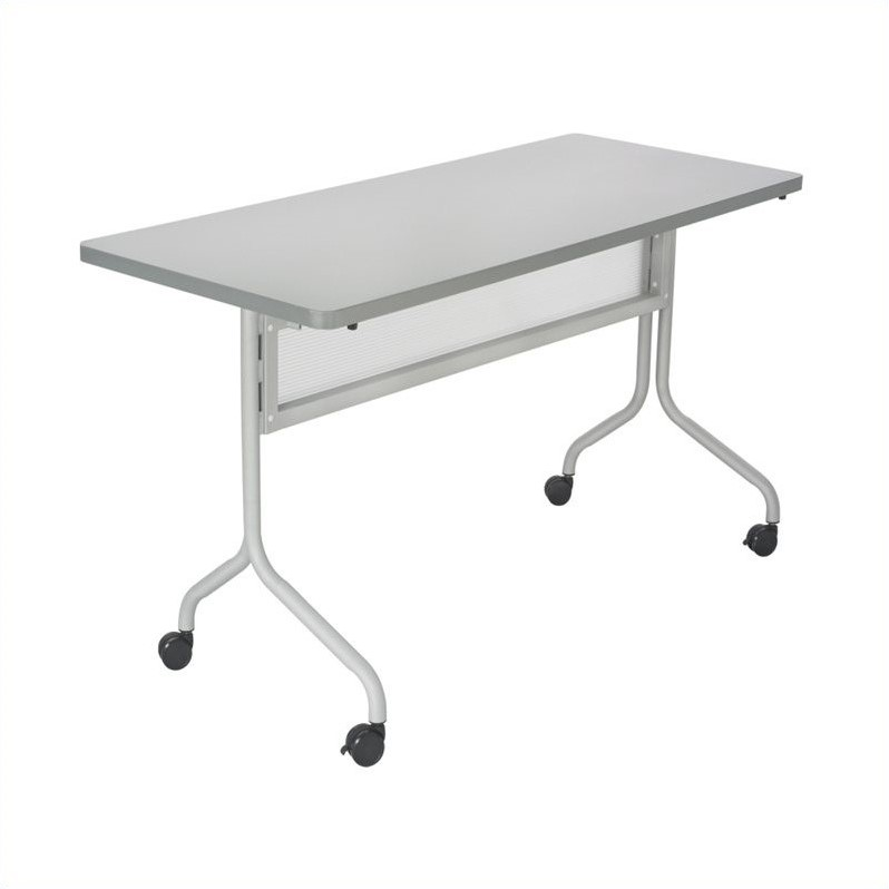Mobile Training Table Rectangle Top 60x24 in Gray
