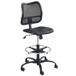 Extended-Height Vinyl Drafting Chair in Black
