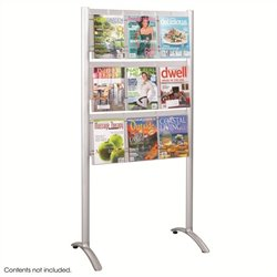 9 pocket Magazine Floor Rack in Silver
