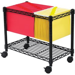 Wire Mobile File Cart in Black