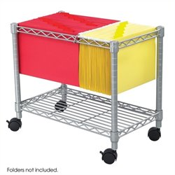 Wire Mobile File Cart in Grey