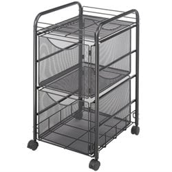 Mesh File Cart with 2 File Drawers
