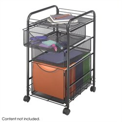 Mesh File Cart with 1 File Drawer and 2 Small Drawers