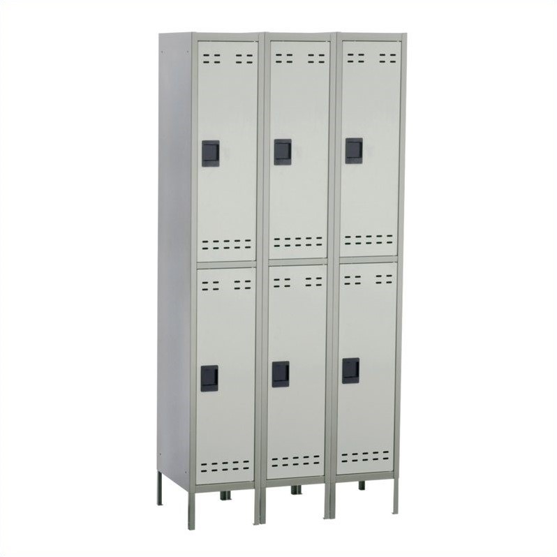 Double Tier Locker 3 Column in Gray
