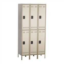 Double Tier Locker 3 Column in Tan