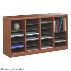 24 Compartments Wood Literature Organizer in Cherry